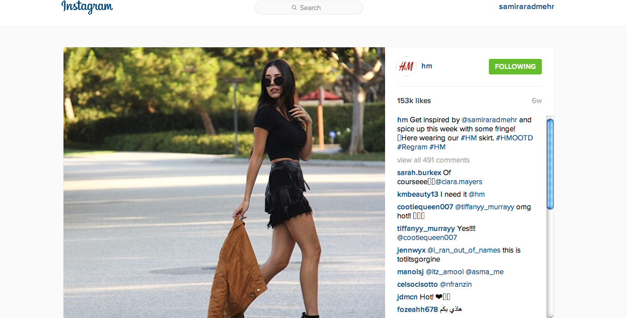 Featured on H&M's Instagram page
