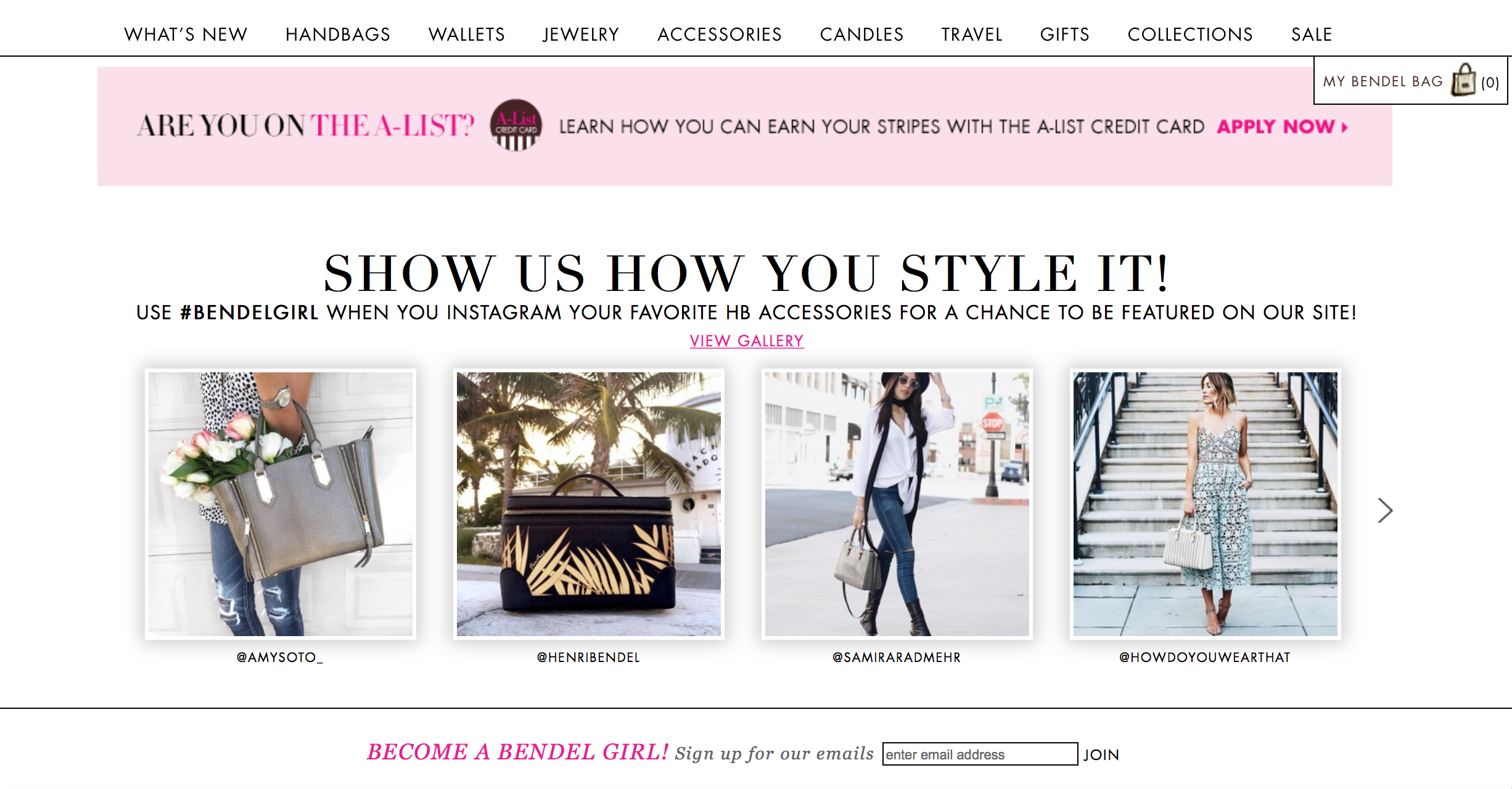 Featured on the Henri Bendel Homepage