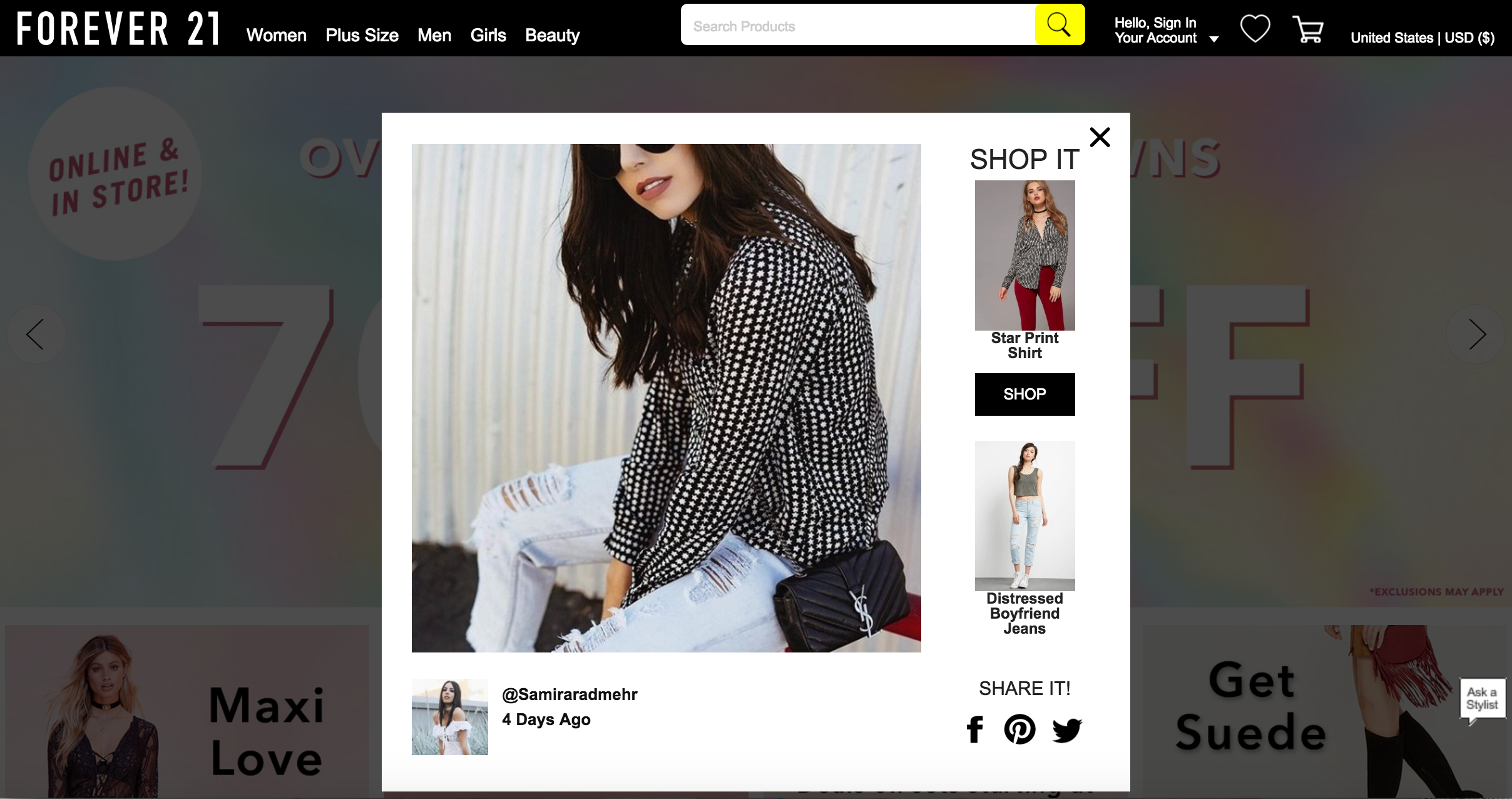 Featured on Forever 21 Homepage
