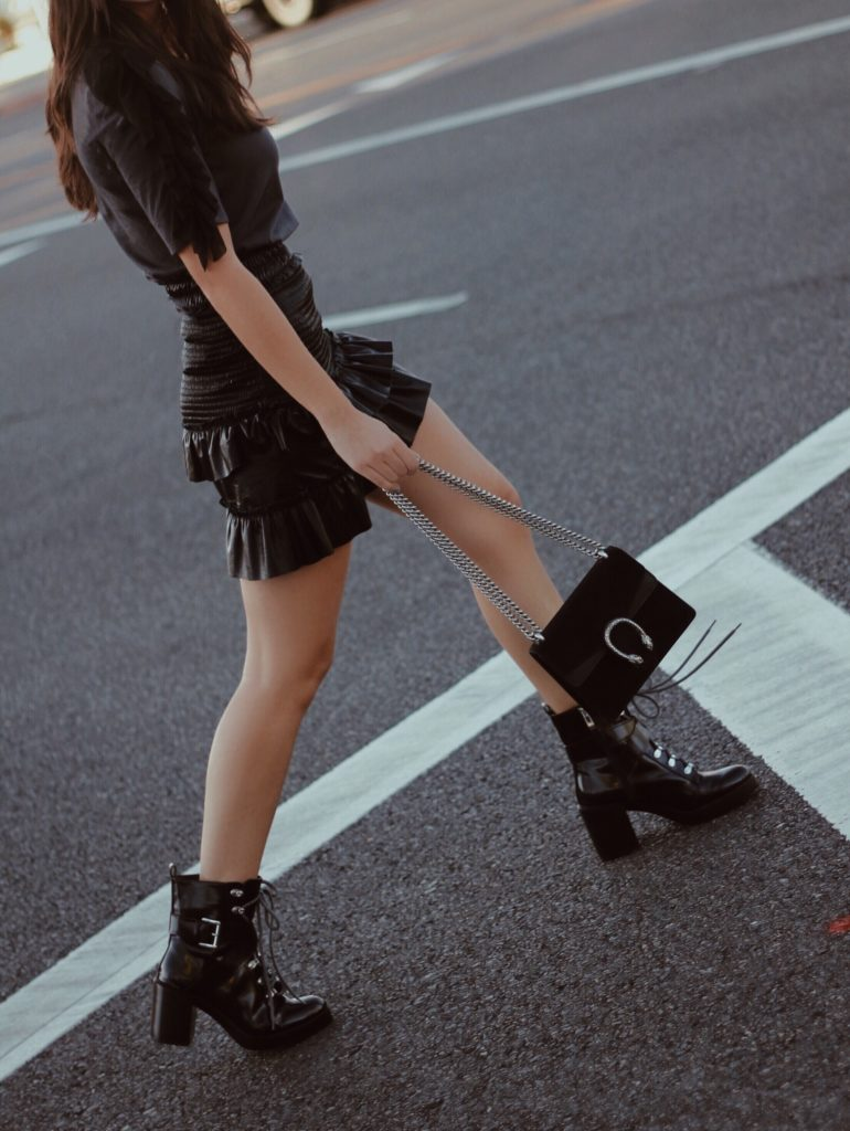 Leather to Lunch Patent Skirt x Tee x Combat Boots