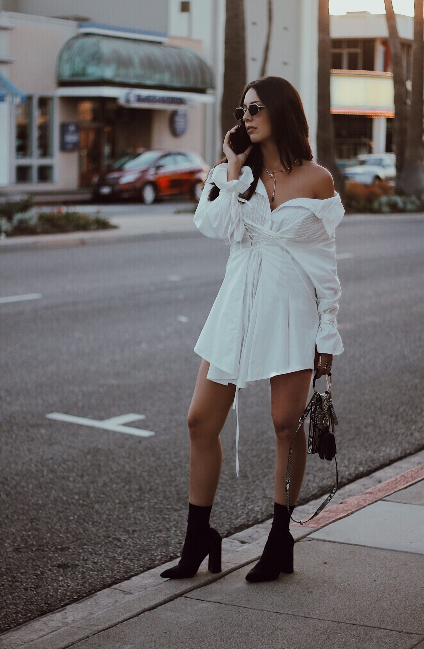 leather to lunch Little White Structured Dress