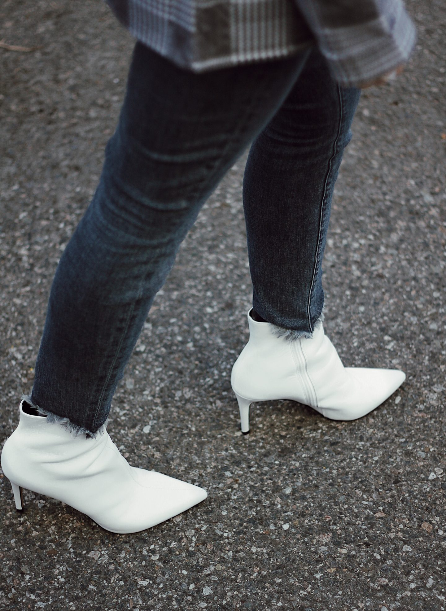 leather to lunch white bootie trend